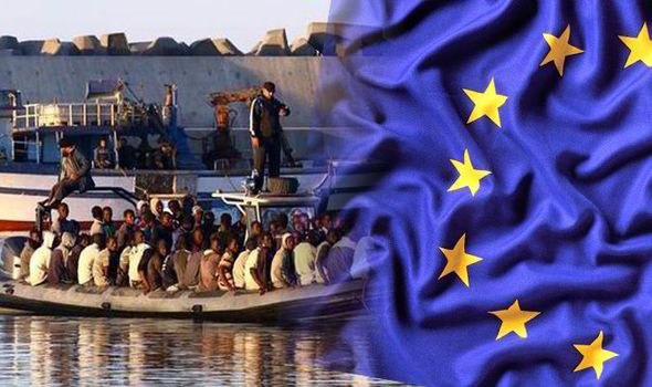 imigranti a EÚ, Zdroj http://www.express.co.uk/news/world/570771/trafficking-illegal-immigrants-EU-Italy-Libya